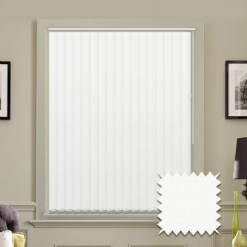 White Made to measure vertical blinds in Guardian White plain FR / Antibacterial fabric